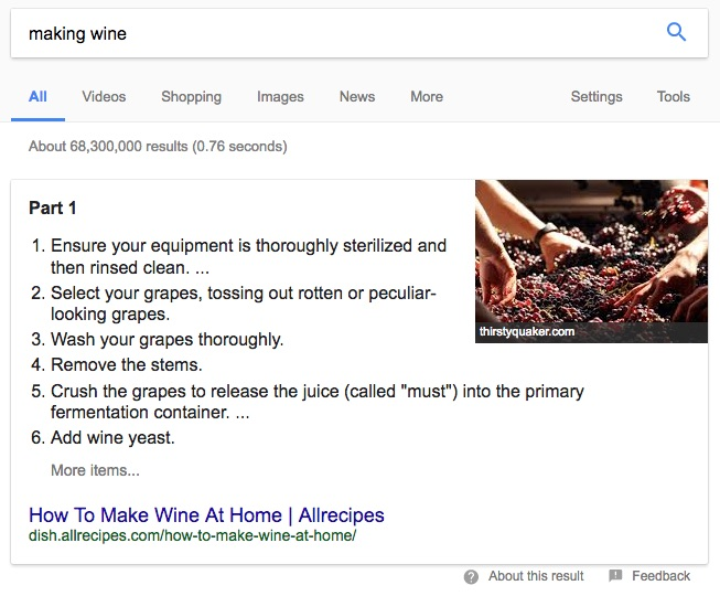 Featured Snippet Result for Wine