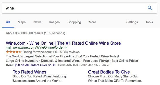 Paid Search Result for Wine