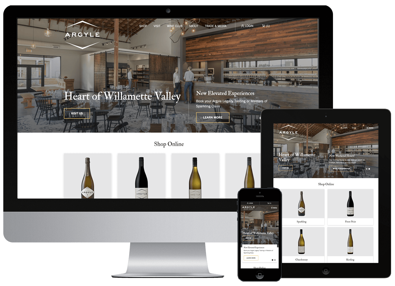 Argyle winery custom website development screenshot on multiple devices