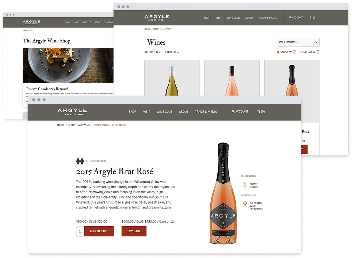 wine direct ecommerce customer store design