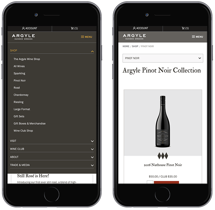 winery website mobile menu custom design and development