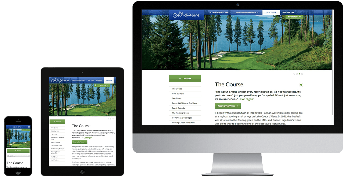 CDA Resorts responsive website design on multiple devices