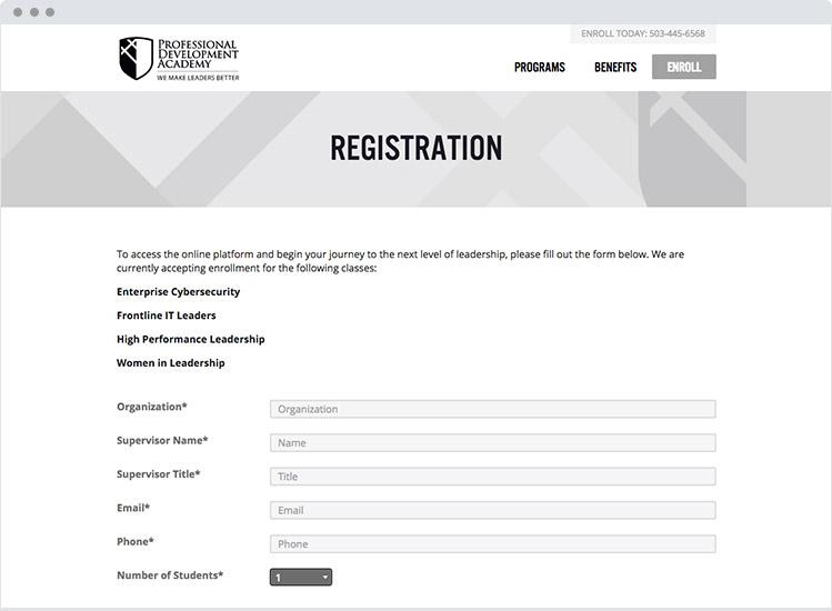 Evanta Academy marketing enrollement page
