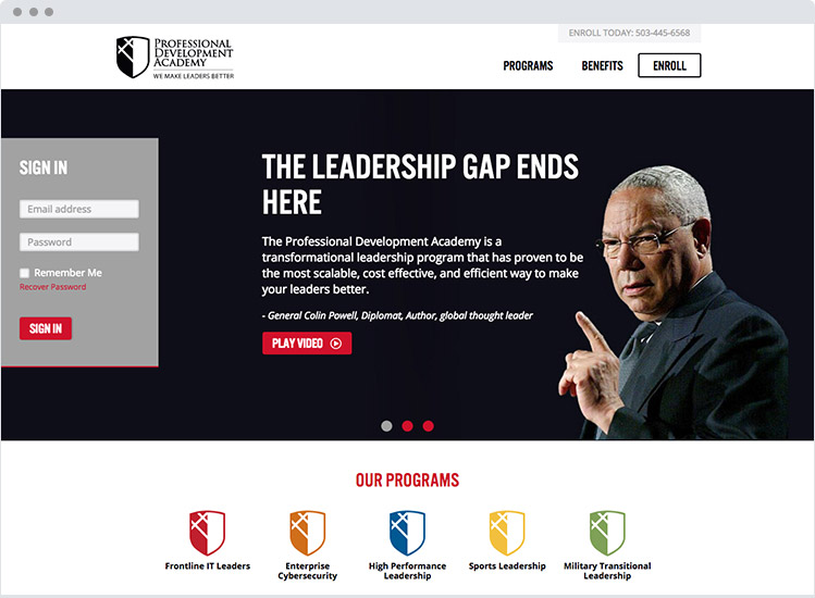 Evanta Academy marketing homepage