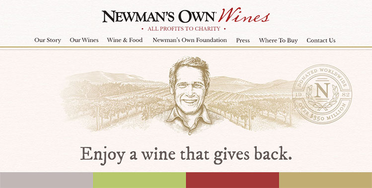 Newsmans Own Wines website redesign wines landing page