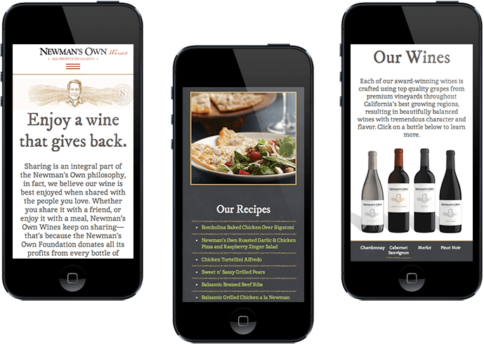 Newmans Own Wines mobile website design