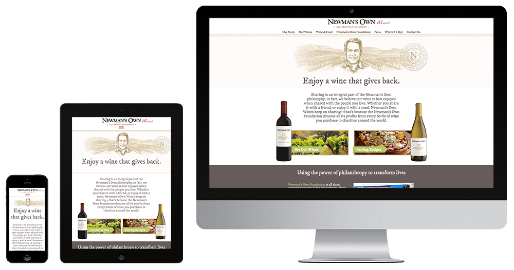 Newmans Own Wine website responsive design on multiple devices