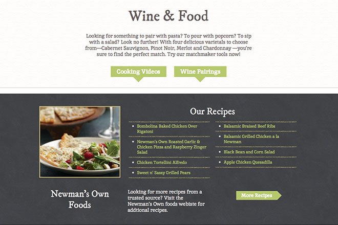 Newsmans Own Wines website redesign wine and food pages