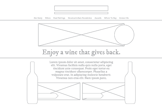 Newmans Own Wines website wireframes