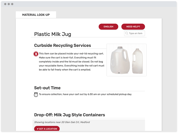 recycling and waste material search app website screenshot