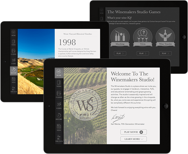 wente winemaker app design screen collage